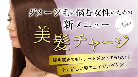 ヘアカラーによるダメージ毛・クセ毛にお悩みの方に美髪チャージでツヤ髪に♡
